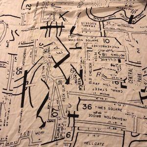 Madewell mapmaker silk/wool/cashmere scarf. B&W